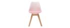 Design-Stühle Rosa mit Holzbeinen (2er-Satz) PAULINE