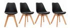 Design-Stühle Schwarz 4er-Set PAULINE