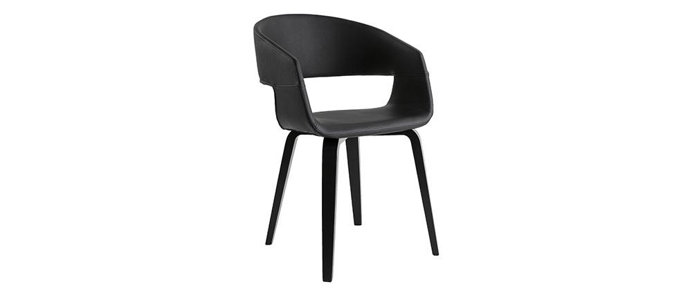 Design-Stühle Schwarz mit Holzbeinen (2er-Satz) SLAM