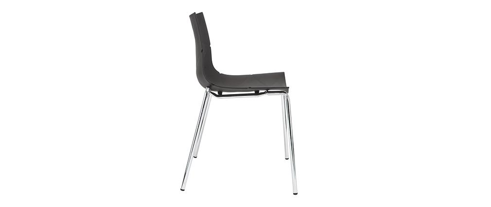 Design-Stühle Schwarz stapelbar mit grafischem Motiv und Metallbeinen ? 2er-Set GUSTO