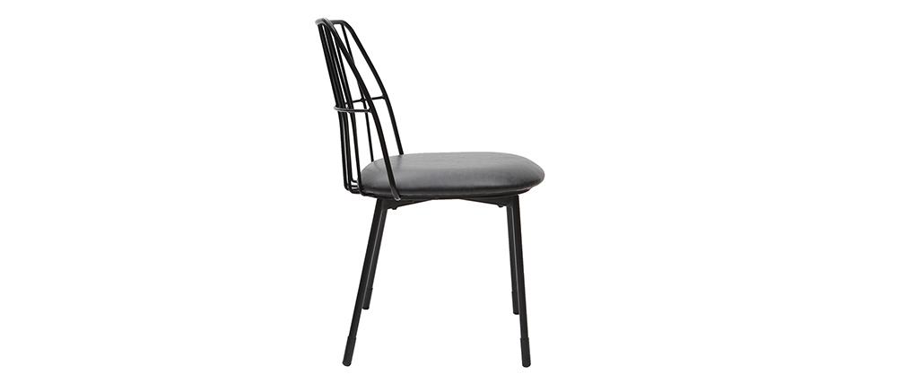 Design-Stühle schwarzes Metall mit Kissen (2er-Set) GRID