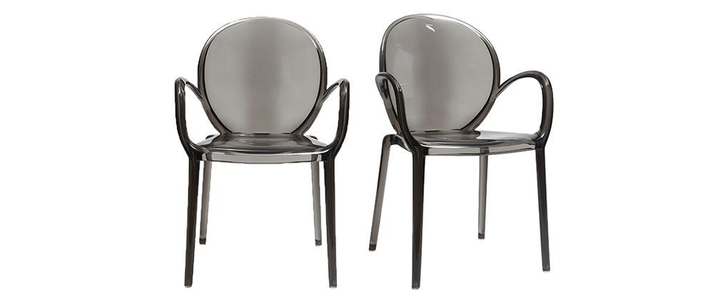 Design-Stühle Transparent getönt 2er-Set CRISTAL