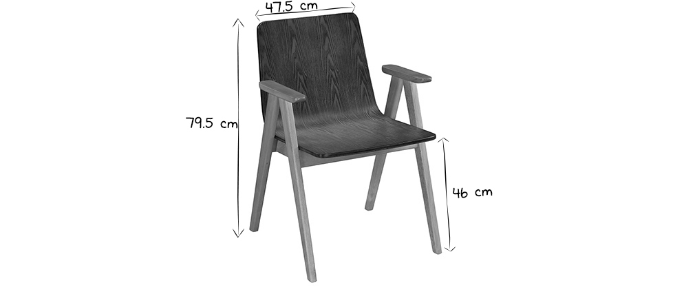 Design-Stühle Vintage-Look Nussbaum und grauer Stoff 2er-Set DANA