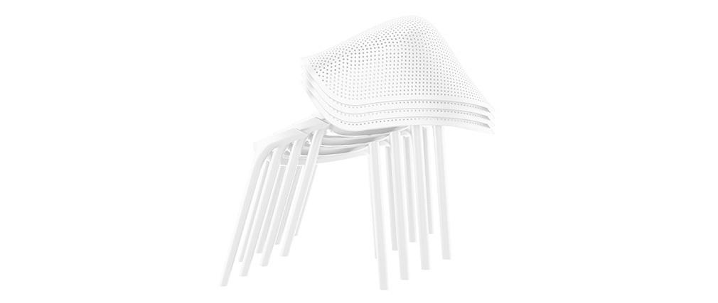 Design-Stühle Weiß stapelbar Indoor/Outdoor (4-er Satz) OSKOL