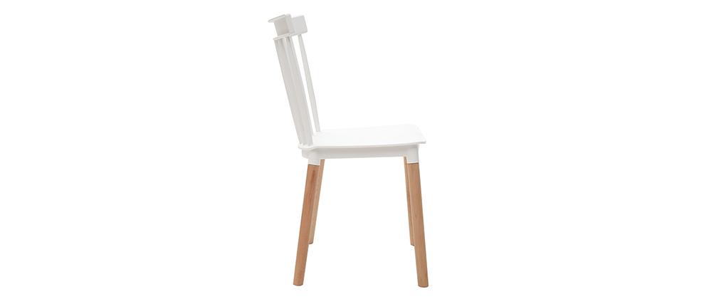Design-Stühle zweifarbig Weiß und Holz (2-er Satz) GAMBO