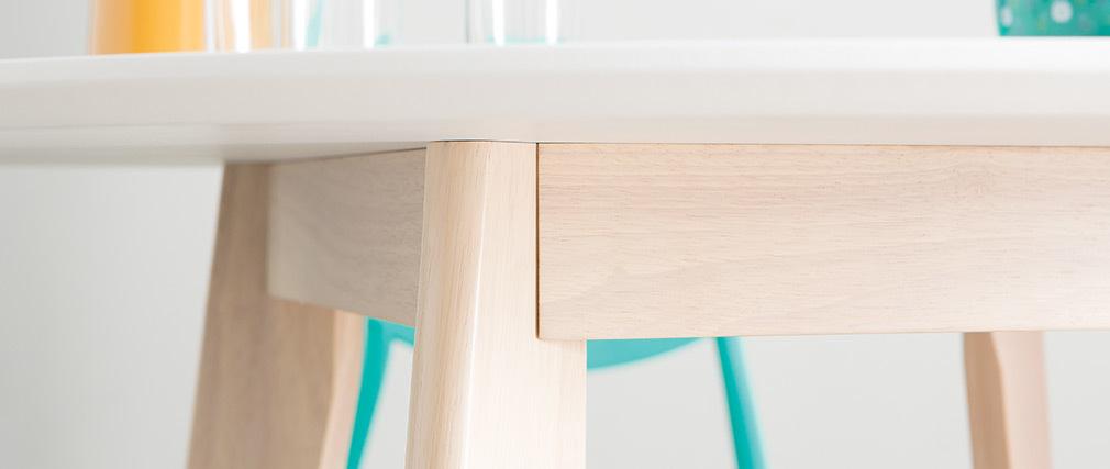 Design-Tisch LEENA Holz und Weiß D100