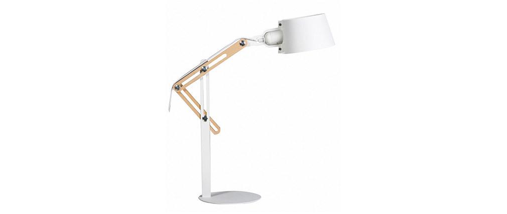 Design-Tischlampe BILLY aus weißem Metall