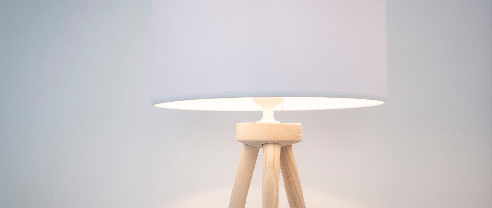Design-Tischlampe Dreifuß Holz Natur TRIPOD