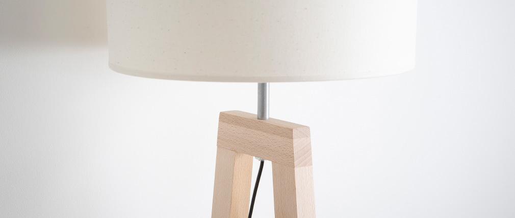 Design-Tischlampe Fuß Holz Natur MANON