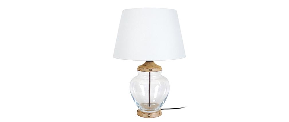 Design-Tischlampe Glas und Holz PUKKA