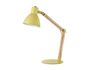 Design-Tischlampe Holz und Metall Gelb PIX