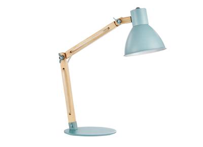 Design-Tischlampe Holz und Metall Hellblau PIX