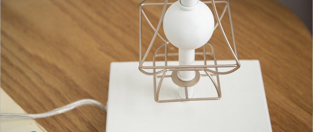 Design-Tischlampe mit goldfarbenem Metall und Lampenschirm aus weißem Nylon FRAME