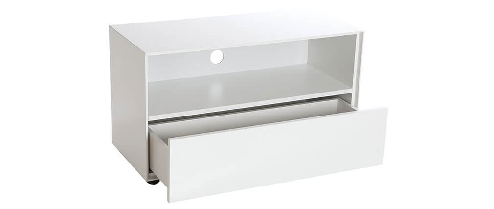 Design-TV-Möbel 90 cm Weiß matt 1 Schublade MARK