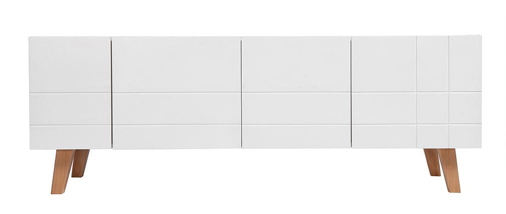Design-TV-Möbel lackiert Weiß matt und Holz ADORNA