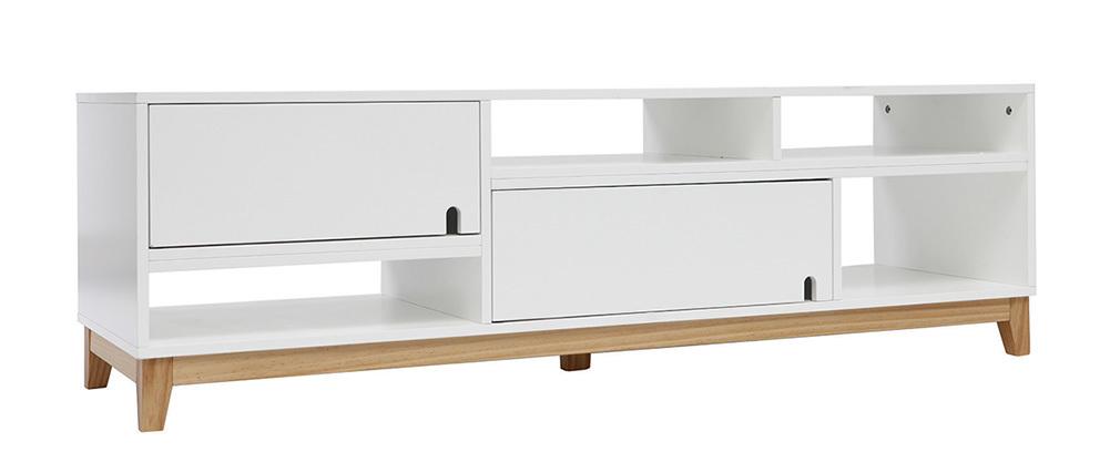 Design-TV-Möbel lackiert Weiß matt und Holz SKAL