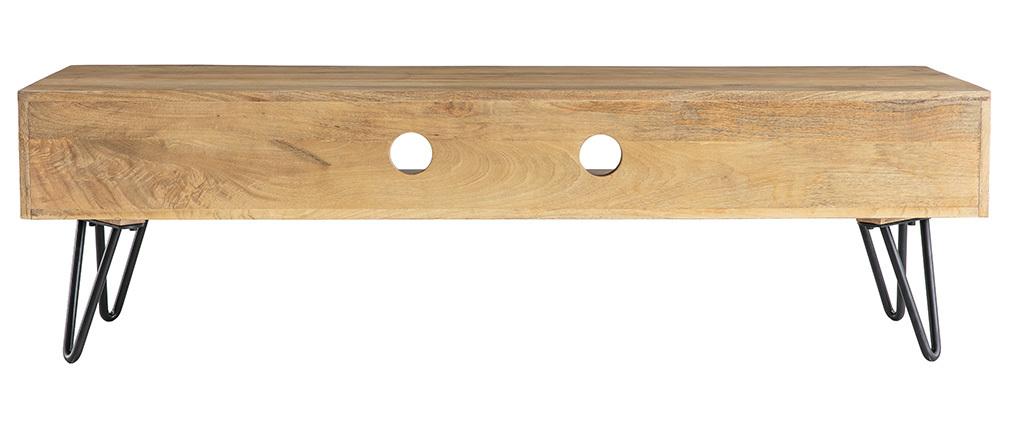 Design-TV-Möbel Mangoholz Hairpin-Tischbeine Metall VIBES