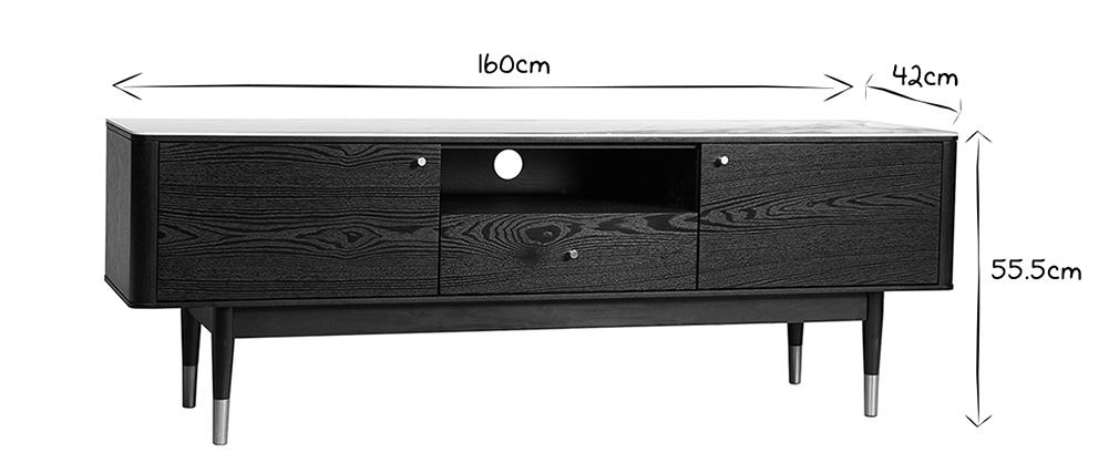 Design-TV-Möbel Marmoroptik und vergoldete Beine ALLURE