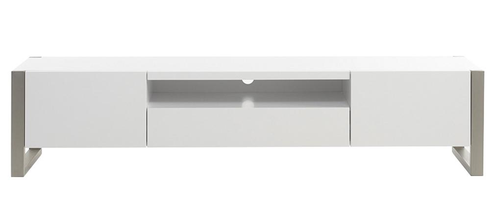 Design-TV-Möbel mit Stauraum weiß lackiert und Metall MAGNA