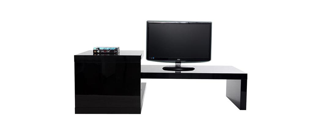 design tv m bel turn schwarz miliboo. Black Bedroom Furniture Sets. Home Design Ideas