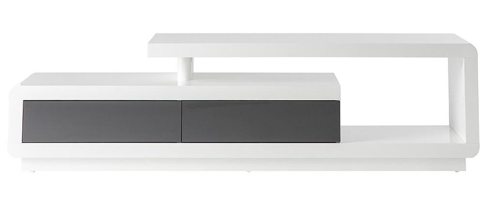 Design-TV-Möbel weiß lackiert mit grauen Schubladen ETANA