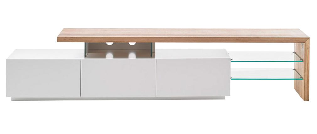 Design-TV-Möbel weiß lackiert Tischplatte Eiche 204cm MEDIA