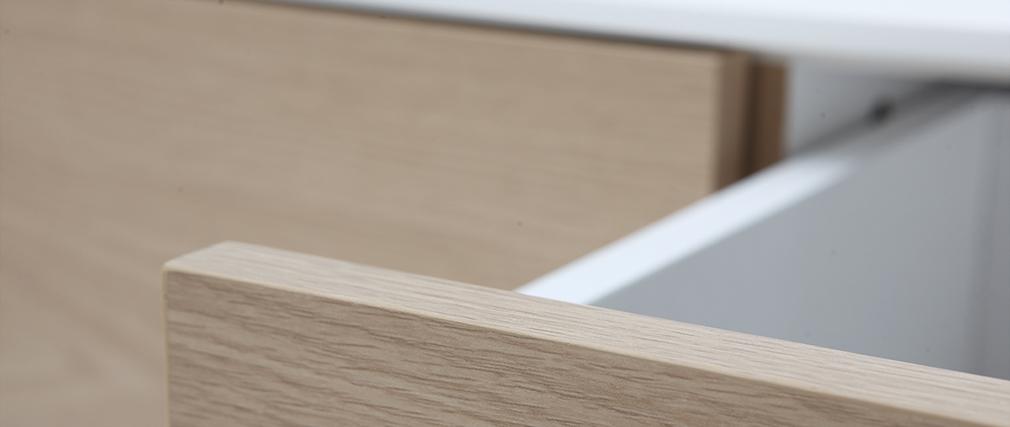 Design-TV-Möbel zeitgenössisch Weiß und Holz ROMY