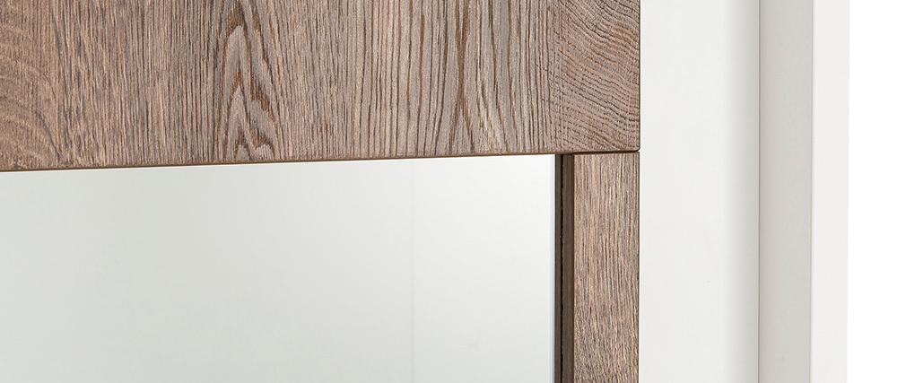 Design-Vitrine verglast weiß und dunkles Holz-Dekor LAND