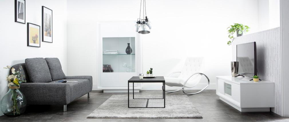 Design-Vitrine verglast weiß und Zement-Dekor LAND