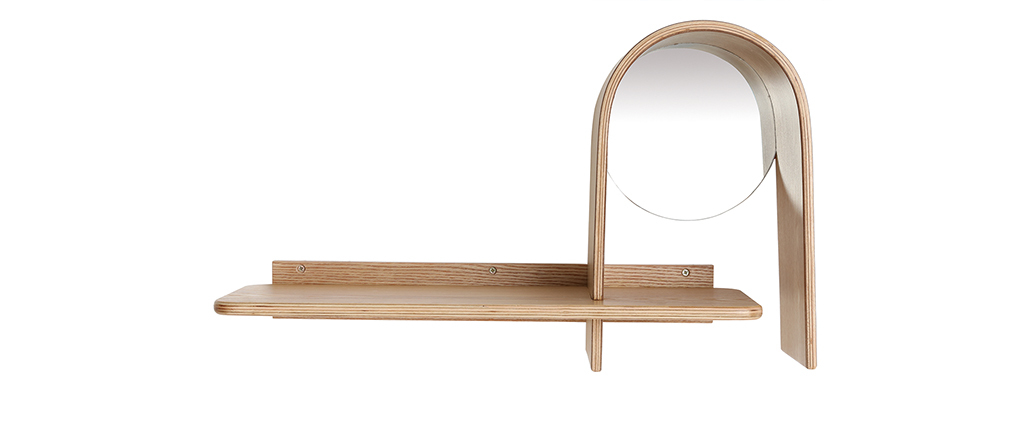 Design-Wandregal Esche mit Spiegel SILMA