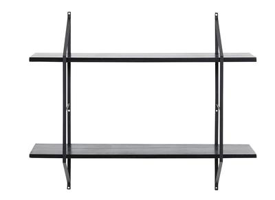 Design-Wandregal Holz Schwarz und Metall BRIDGE
