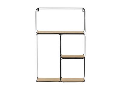 Design-Wandregal Metall Schwarz und Holz BRICK