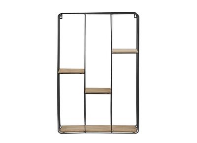 Design-Wandregal Metall Schwarz und Holz SLICE