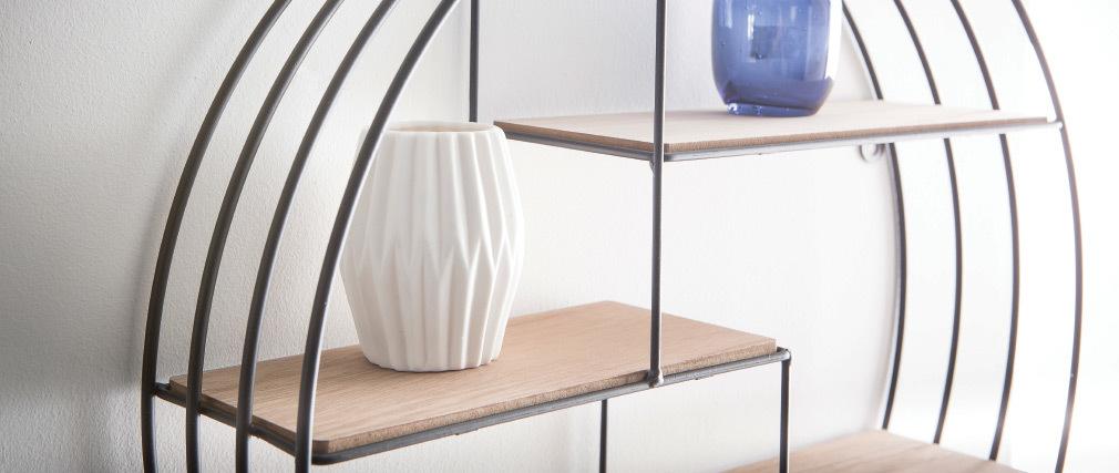 Design-Wandregal Rund Holz und Metall ENSO