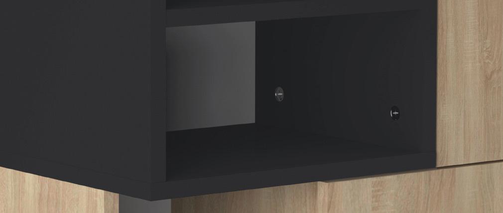 Designer-Aufbewahrungssäule schwarz und aus Holz STELE