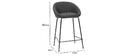 Designer-Barhocker dunkelgrauer Stoff 65cm (2er Set) SHERU