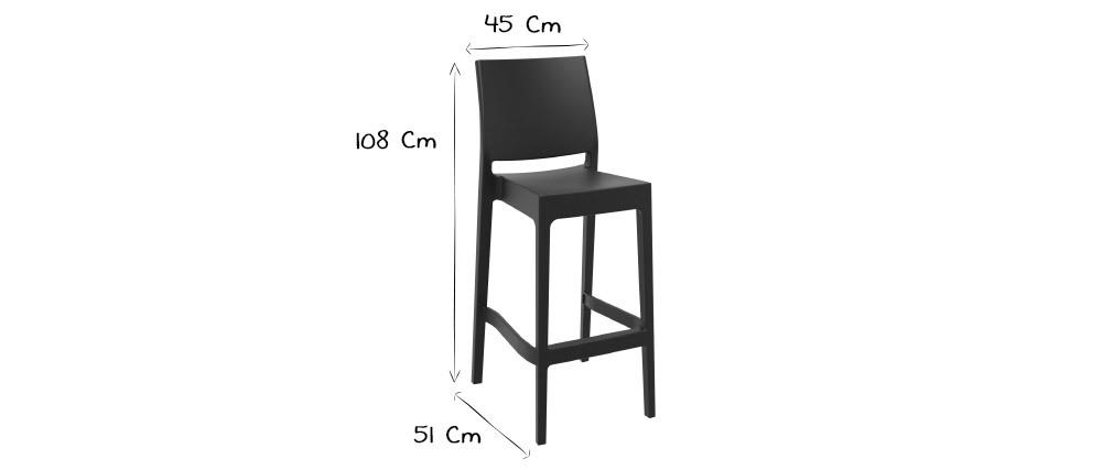 Designer-Barhocker zum Stapeln 75 cm schwarz (4er-Satz) CALAO