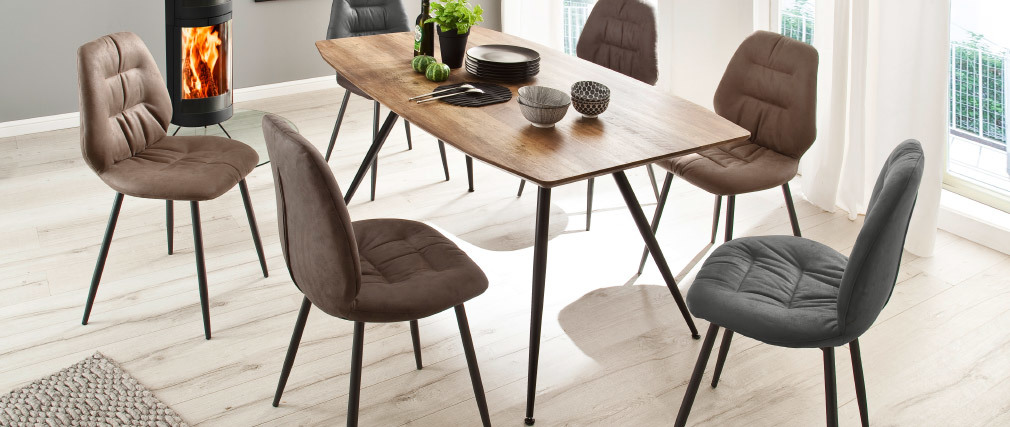 Designer-Esstisch mit Wildeiche und Metalloberfläche BOCCA