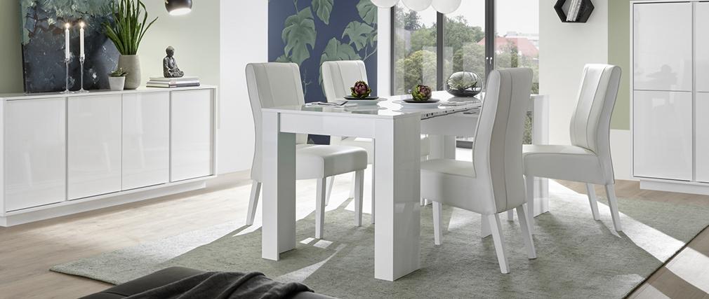 Designer-Konsolentisch ausziehbar glänzend weiß L54-252 cm COMO