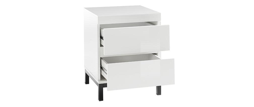 Designer-Nachttisch 2 Schubladen weiß lackiert KOLL