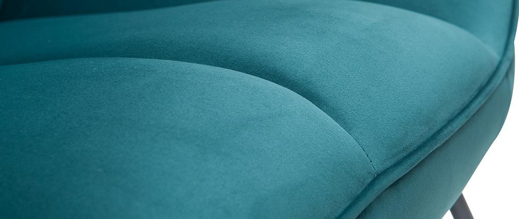 Designer-Schaukelstuhl aus petrolblauem Samt BILLIE