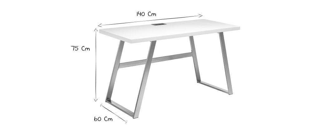 Designer-Schreibtisch matt weiß und gebürstetes Metall STYLO
