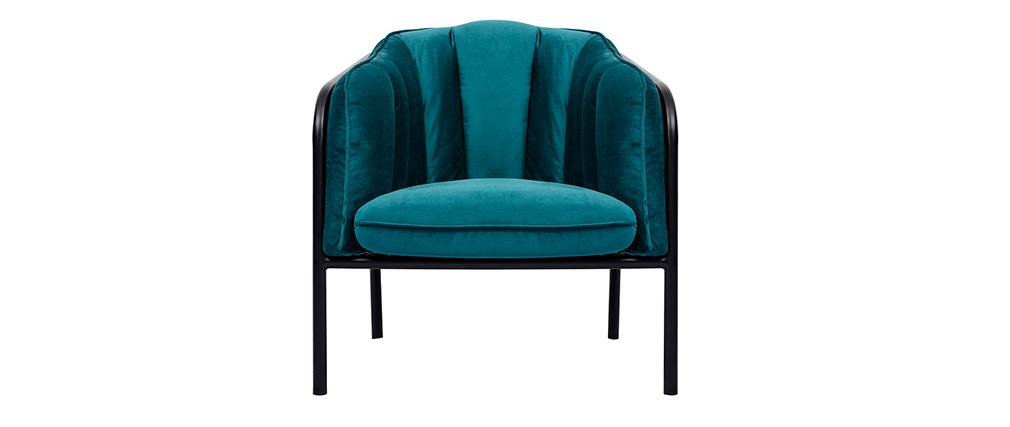 Designer-Sessel MALONE aus petrolblauem Samt