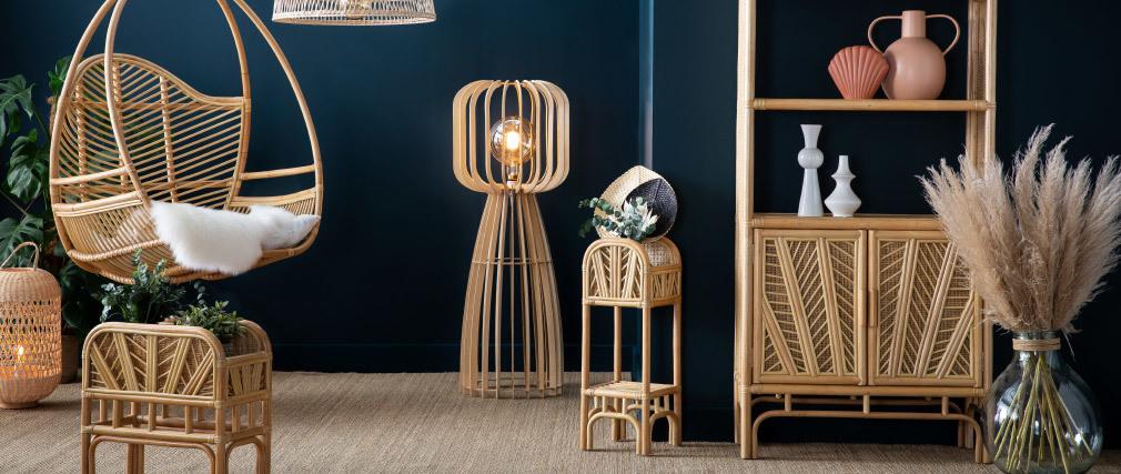 Designer Stehleuchte aus hellem Holz H125 FIJI