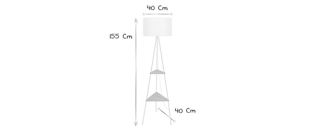 Designer-Stehleuchte Metall weiß aus Holz YIN