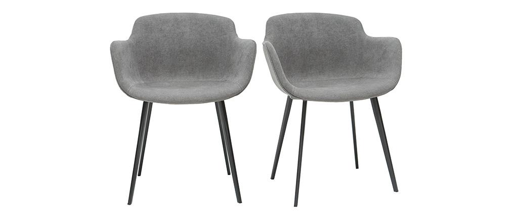 Designer-Stühle aus grauem Stoff mit Samteffekt (2er-Satz) SAKE