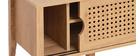 Designer-TV-Schrank mit Schiebetüren aus synthetischem Rattan und Holz - PACHO
