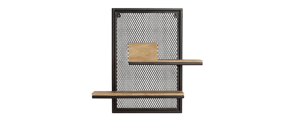Doppelwandregal aus Metall und massivem Mangoholz H60 cm RACK