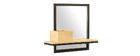 Doppelwandregal mit Spiegel aus Metall und Mangoholz 50cm RACK
