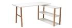 Dreh-Schreibtisch skandinavisches Design Weiß und Eiche GILDA
